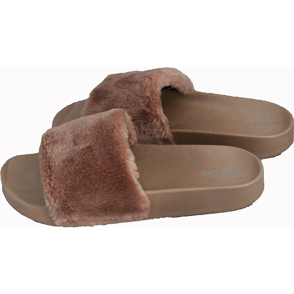 e63f62b08253 Ella Tito Faux Fur Mule Sliders Sandals Rubber Flip Flops 3-8 Taupe - Tit-Mul-Tau   Amazon.co.uk  Shoes   Bags