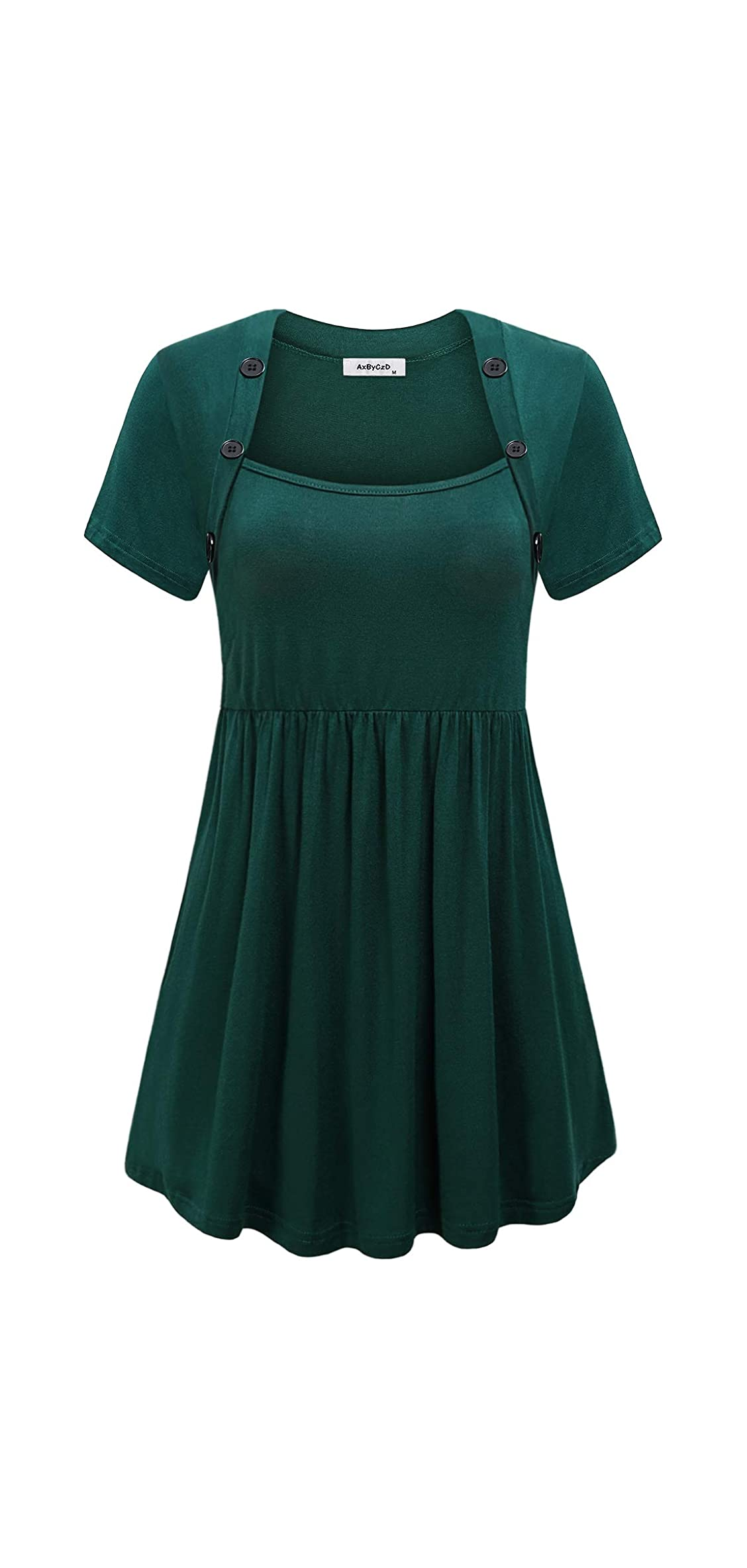 Women's Square Neck With Buttons Short Sleeve Pleated