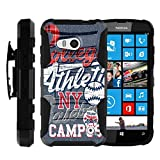 MINITURTLE Case Compatible w/ Microsoft Lumia 550 Holster Case [Clip Armor] Rugged Cover With Built in Stand and Belt Clip Film Blue College Sports