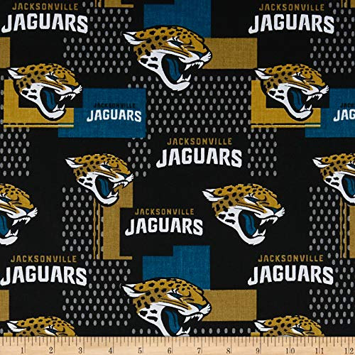 Traditions NFL Cotton Broadcloth Jacksonville Jaguars , Gold/Black/Aqua Fabric by the Yard