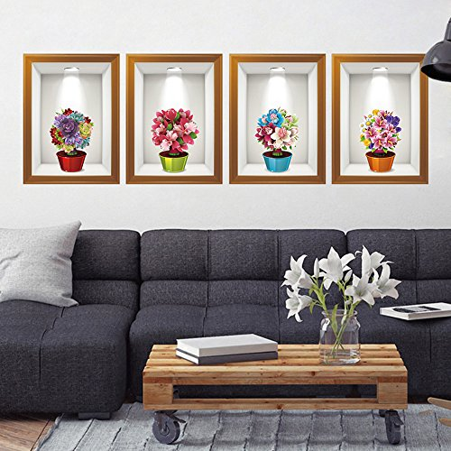 Clearance!! ZOMUSA 3D Flower Wall Sticker Removable Mural Decals Vinyl Art Living Room Decor (Multicolor)
