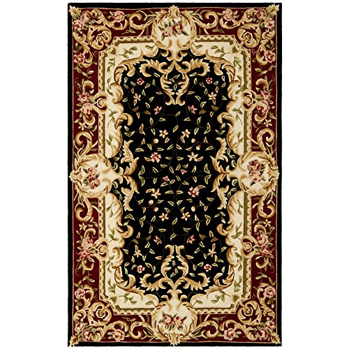 8' Naples Collection Rug (Safavieh Naples Collection NA508B Handmade Black and Red Wool Area Rug, 5 feet by 8 feet (5' x 8'))