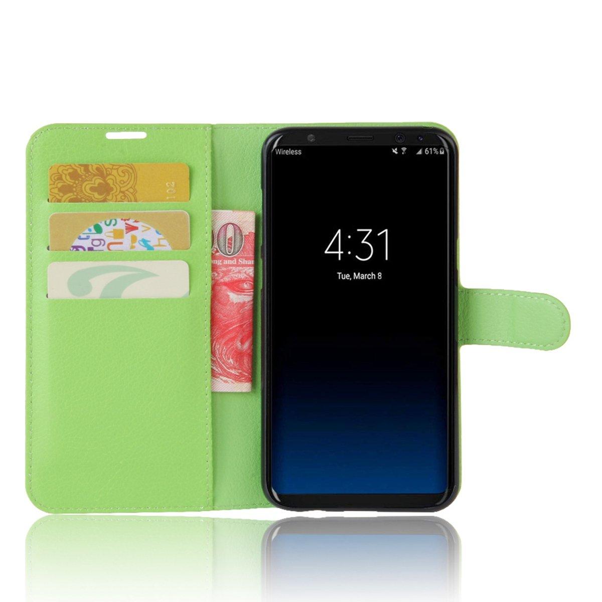 scheam livre Flip Coque /Étui portefeuille Premium PU Housse en cuir B/équille Feature Support pour slot pour cartes Etui Samsung Galaxy S8 /Étui de protection pour samsung galaxy S8/White noir noir