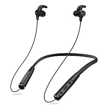 Auriculares Bluetooth 4.1 Inalámbricos con Magnéticos Neckband con Cancelación de Ruido Doble Batería Reproducción de 20 Horas, APT-X, Hi-Fi Estéreo by ...