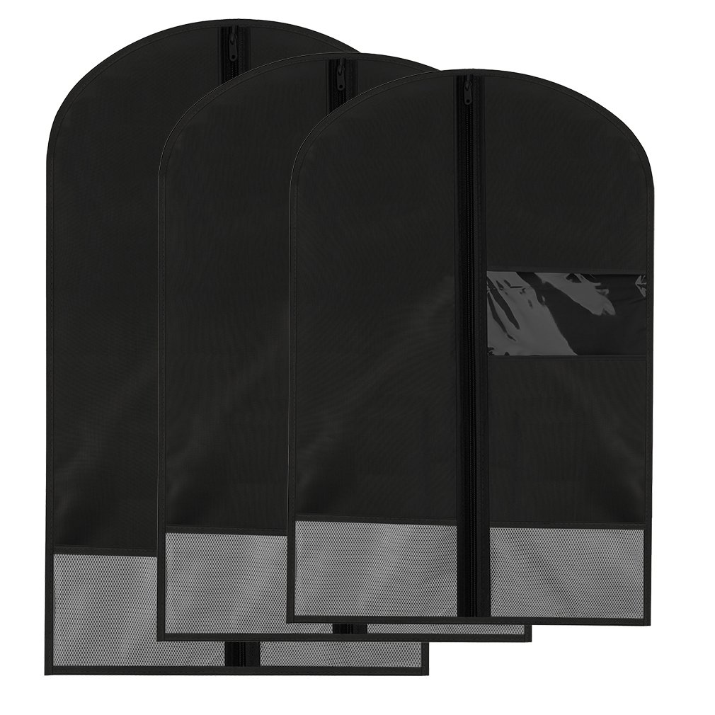 Breathable Dust-Proof Garment Bag with Clear Window and 2 Mesh Pockets, Anti-Moth Durable Oxford Cloth Suit Covers with Zipper for Suit, Dresses, Linens, Storage or Travel Pack of 3 (S,M,L, Black)