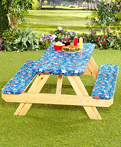 - 3 Piece Fitted Picnic Table & Bench Seat Cover Set Americana Stars Elastic Fit Patio Tablecloth