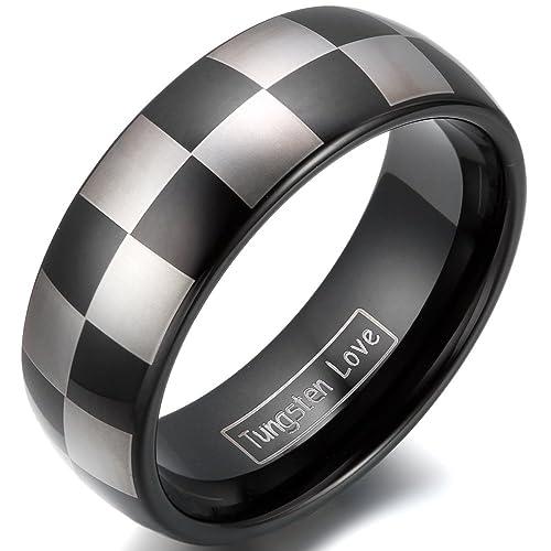 JewelryWe joyería 8 mm ancho cuadrados carburo de tungsteno confíes Anillos Pareja anillos de compromiso anillos