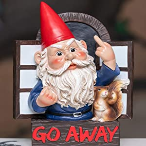 Go Away Gnome with Squirrel 8 inch Garden Grumpy Gnome by The Window Chuang Middle Finger Statue for Home Decor Garden Patio Gnaughty Elves DwarfsWall/Tree Hanging Ornaments (Go Away Rude Gnome)