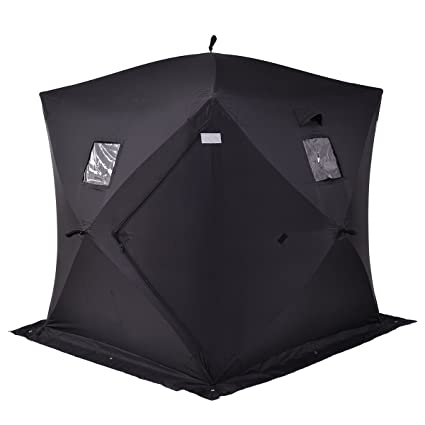 Tangkula Pop-up Ice Shelter 2-Person with Detachable Ventilation Windows,  Zippered Door & Carry Bag Frost Resisting Durable Oxford Fabric Waterproof