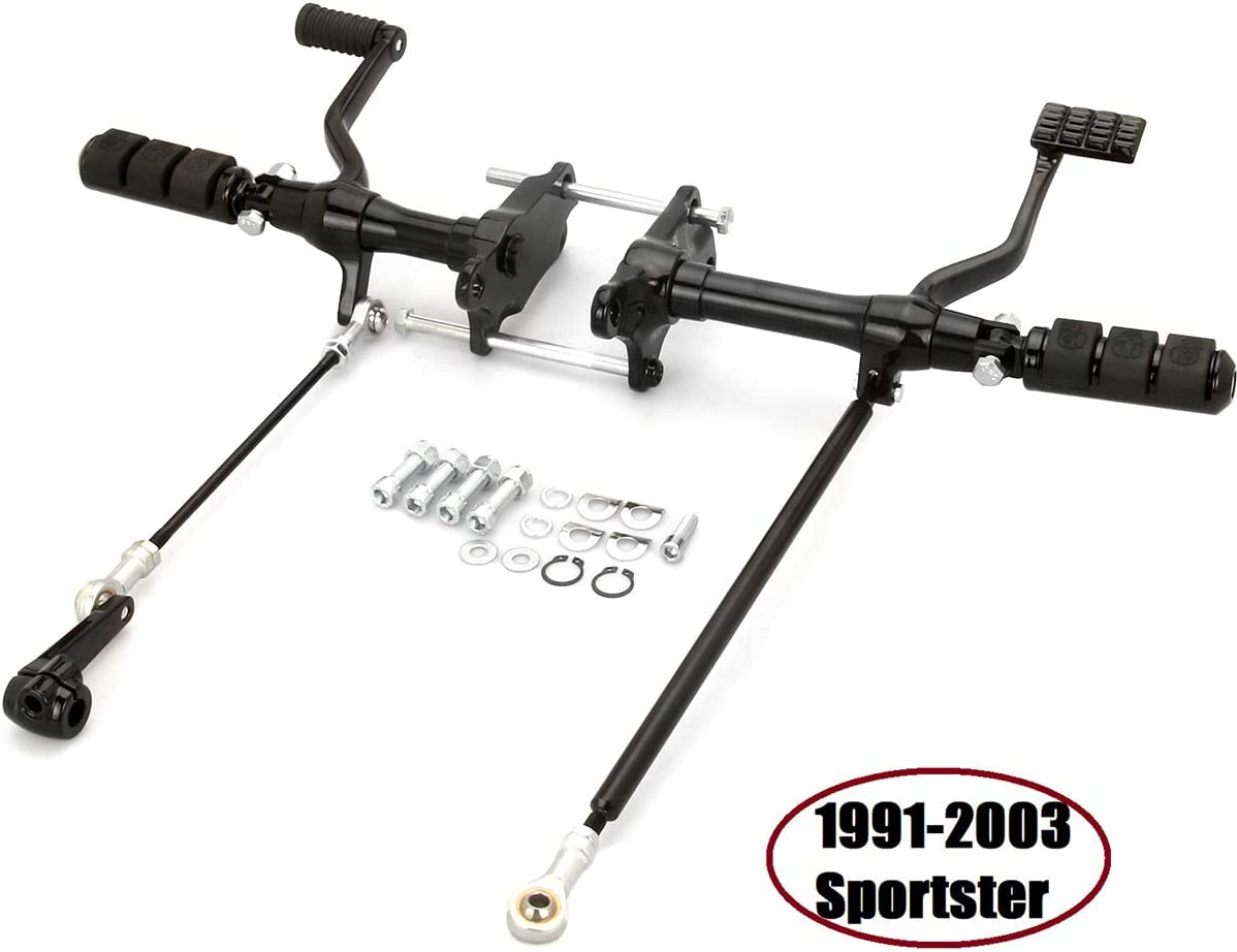Black Sportster Forward Controls harley Foot Pegs shift Linkages rod For Harley Sportster 883 1200 1991-2003