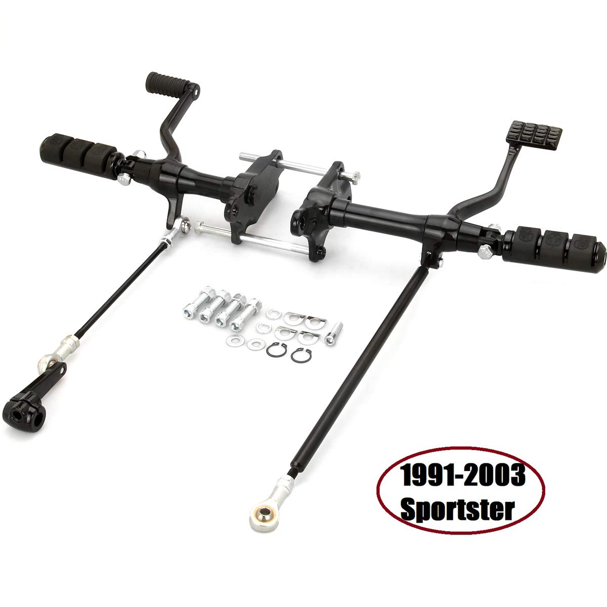 Black Sportster Forward Controls harley Foot Pegs shift Linkages rod For Harley Sportster 883 1200 1991-2003 by HAPPY-MOTOR