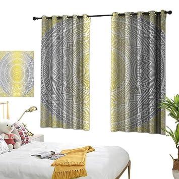 Amazoncom Bedroom Curtains W55 X L72 Grey And Yellowsoft