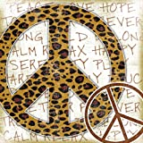 Stupell Industries The Kids Room Square Wall Decor, Leopard Print Peace Sign