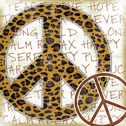 The Kids Room by Stupell Leopard Print Peace Sign Typography Background Square Wall - Tigers Lithograph Print