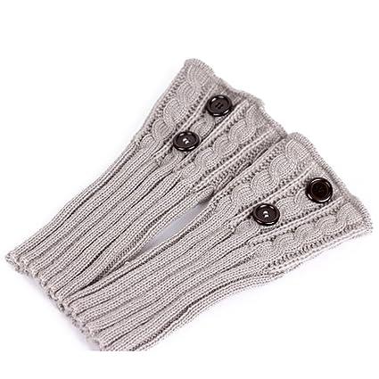 PIXNOR Puños de pata arranque tejer calcetines calentadores arranque cubierta mantenga caliente calcetines (gris claro