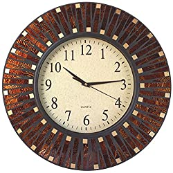 Lulu Decor, 16 Amber Dot Mosaic Wall Clock with 9.5 Glass Dial, Silent Movement for Living Room & Office Space (LP82)