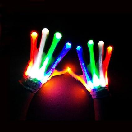 1 Pair LED Fingers Flashing Gloves Light Up Lighting Glow Xmas Dance Rave Party