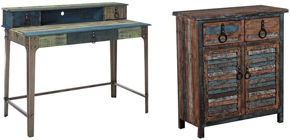 Powell Furniture Calypso Desk, Wood with Multi Color Accents, Calypso Console 2-Drawers/2-Doors