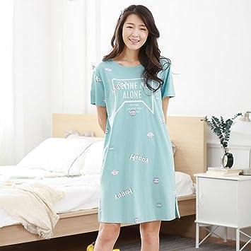 Pijamas de algodón de Verano de algodón de Manga Corta camisón ...