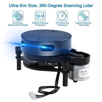 Lidar Detector UAV Lidar Sensor 360 Grados Lidar Ultra-pequeño Alta precisión Mayor de 8 metros Distancia de rango para navegación con robot ROS y prevención de obstáculos Interior al aire libre: Amazon.es: