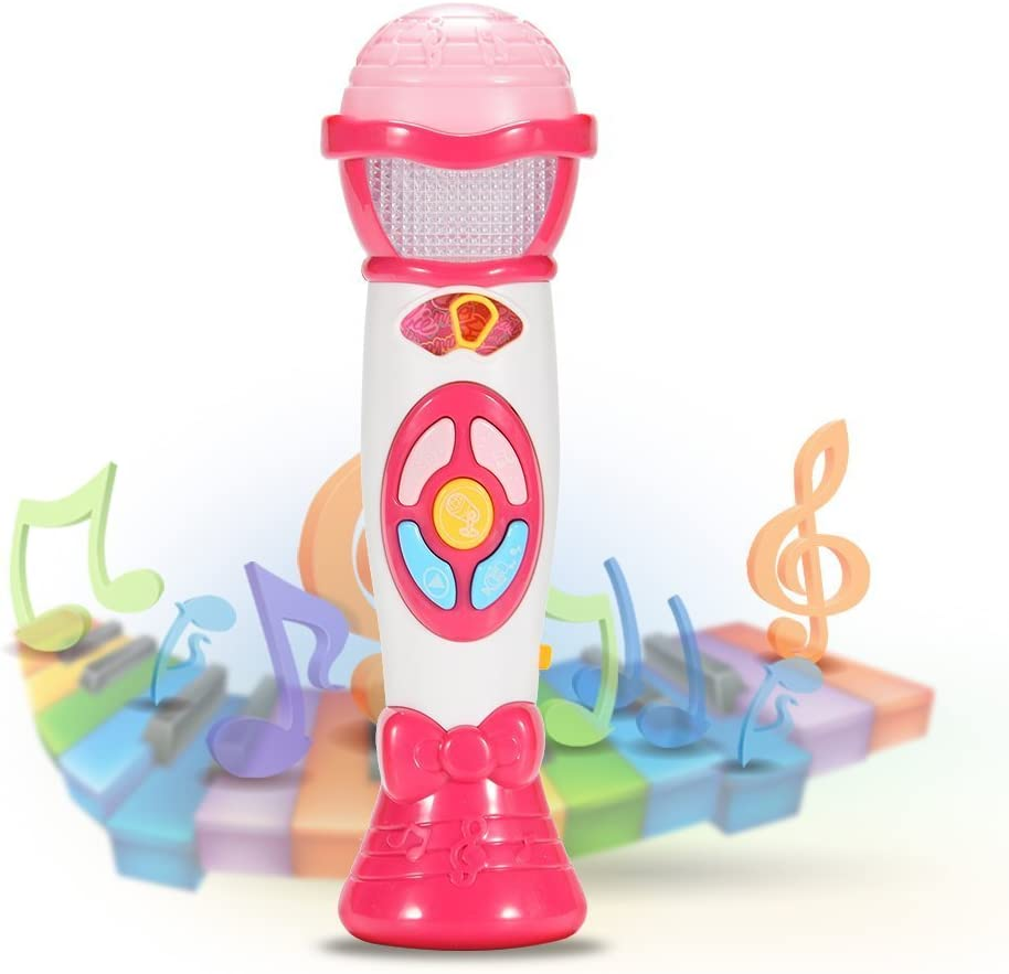 Baby Kids Mic Microphone Toy Music Early Record Learning  Play Sound Light Game