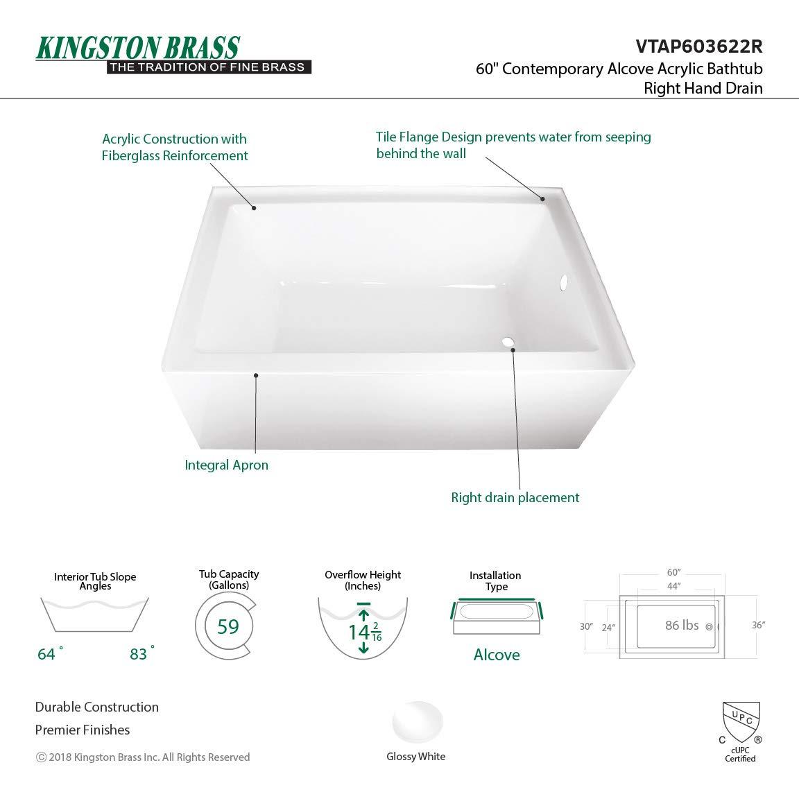 Amazon.com: kingston brass vtap603622r Aqua Eden 60 acrílico ...