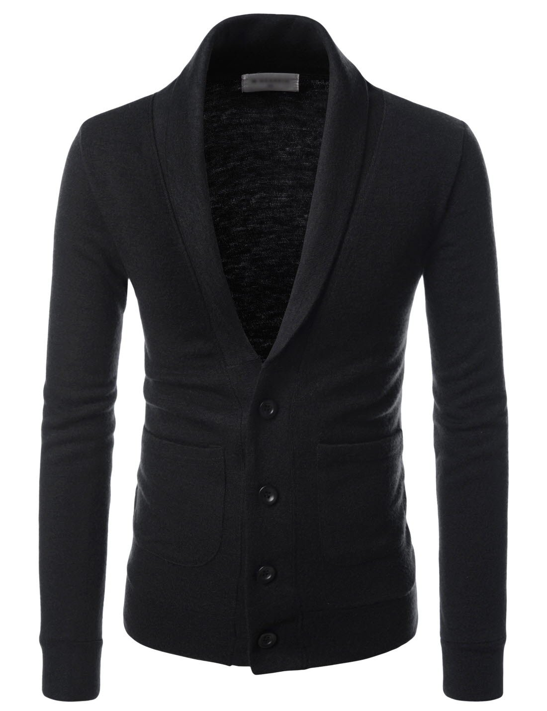 TheLees (NKCD132) Shawl Collar Basic Knit Casual Cardigan Sweaters BLACK US XXXL(Tag size 3XL)