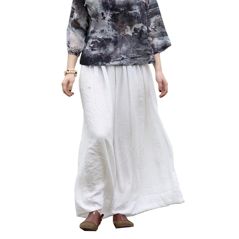 Soyoo Women's Cotton Linen Wide Leg Drawstring Pants Solid M