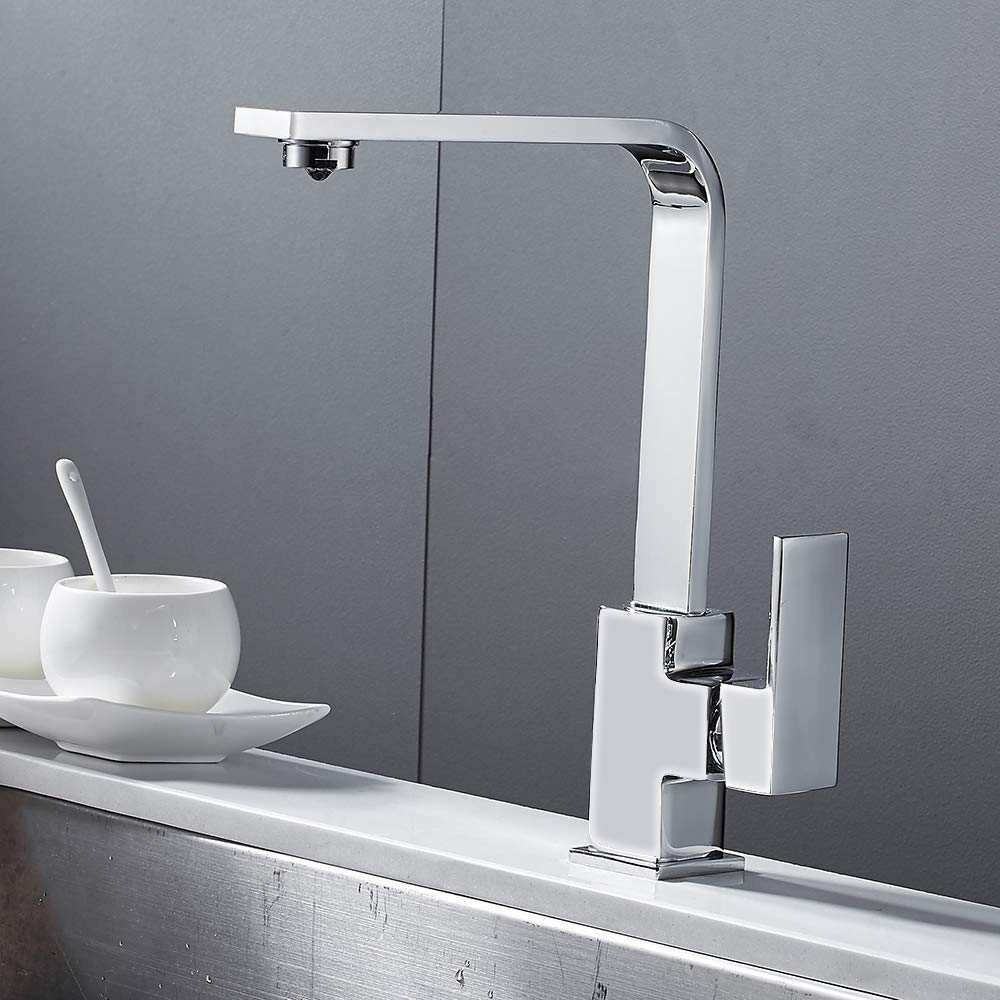 Modern Kitchen Sink Faucet Single Handle High Arch Wet Bar Sink Faucet Lead-Free Swivel Basin Monobloc Mixer Chrome Brass with Stainless Steel Braided Hoses (Chrome) by Interlink