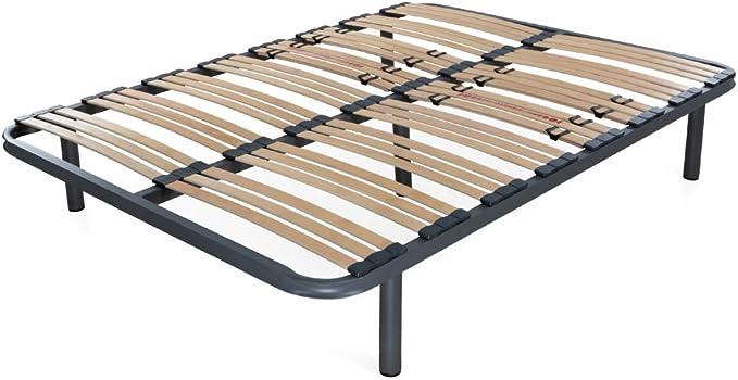 Dormidán - Somier Somieres multiláminas con regulación lumar, Tubo de Acero 40x30mm, Medida 80x180cm (4 Patas de 26cm Incluidas)