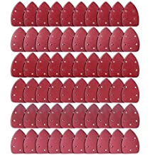 SODIAL 60 Pieces Mouse Detail Sander Sandpaper Assorted 40/ 60/ 80/ 120/ 180/ 240 Grits