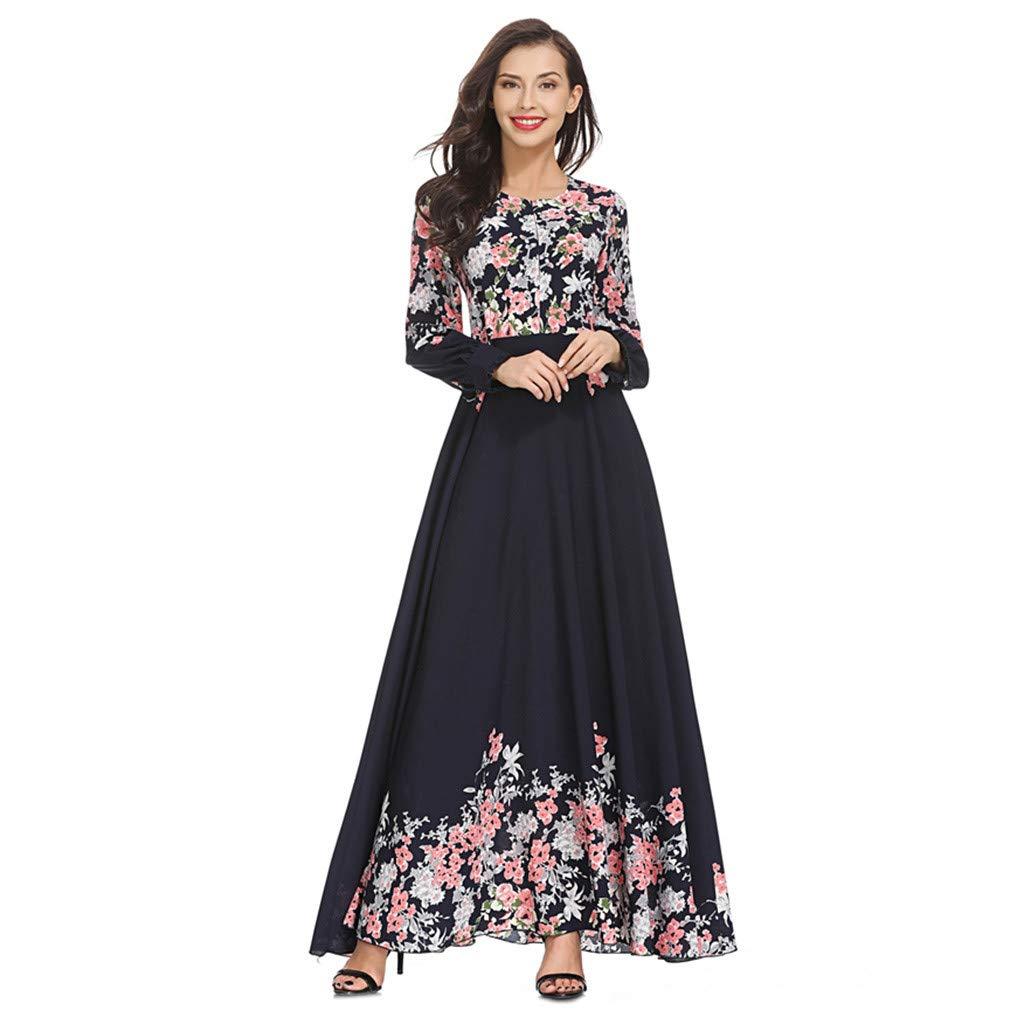 AmyGline Muslimische Kleider Damen islamische Kleider Druck Elegant Slim Lang Kleid Maxikleid Langarm Muslim Arab Kleid Dubai Kaftan Ramadan Kleider Gebet Kleid