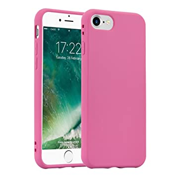 JAMMYLIZARD iPhone 8, iPhone 7 Case, Carcasa Silicona Semi-Rígida Ultra Resistene [ Pastel Rainbow ] De Goma TPU Back Cover, Rosa Peonia