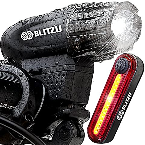 Blitzu Gator 320 PRO USB Rechargeable Bike Light Set POWERFUL Lumens Bicycle Headlight FREE TAIL LIGHT, LED Front and Back Rear Lights Easy To Install for Kids Men Women Road Cycling Safety - Folding Bike Helmet