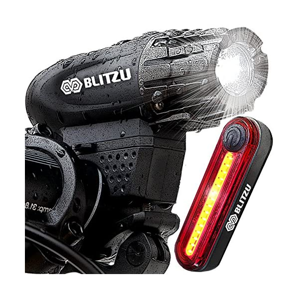 Blitzu Gator 320 PRO USB Rechargeable Bike Light Set POWERFUL Lumens Bicycle Headlight, FREE TAIL LIGHT, LED Water Resistant Front Light, Easy To Install for Kids Men Women Cycling Safety Flashlight