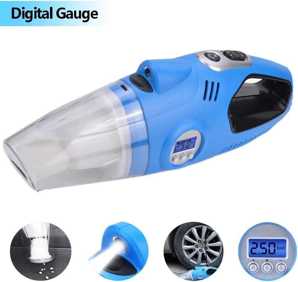 HWUKONG Aspirador de Mano para automóvil 4In 112v Compresor de Aire eléctrico portátil automático Bomba infladora de neumáticos Digital para neumáticos para la Limpieza del hogar y el automóvil: Amazon.es: Hogar