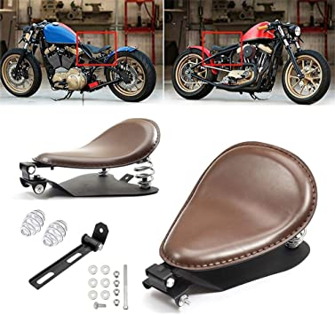 Amazicha Brown Solo Seat Emboss Leather 3 Chrome Spring Mounting Bracket Kit Motorcycle Compatible for Harley Honda Yamaha Kawasaki Suzuki Sportster Bobber Chopper