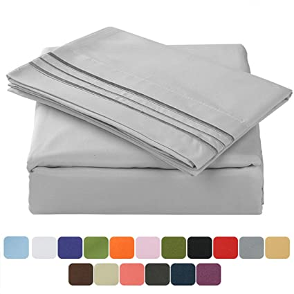 TasteLife 105 GSM Deep Pocket Bed Sheet Set Brushed Hypoallergenic  Microfiber 1800 Bedding Sheets Wrinkle,