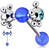 Piercing langue roulette coquine bleu roi