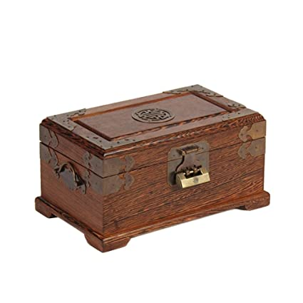 Ordinaire CJC Storage Box Wooden Band Lock Jewelry Box Chinese Style Retro Cosmetic  Protection Skin Product Storage