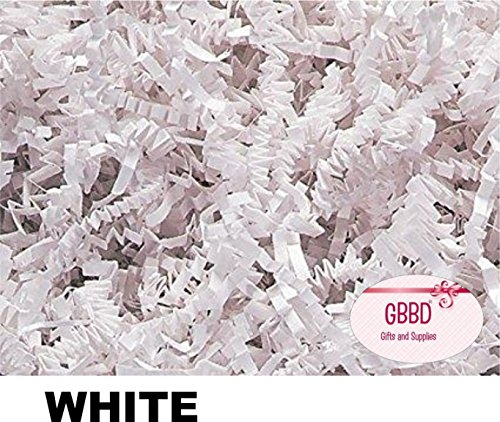 Crinkle Cut Paper Shred Grass Filler for Gift Box Wrapping and Basket Filling (White, 1 lb)