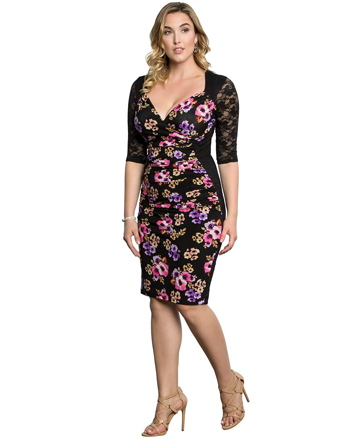 Kiyonna Women's Plus Size Stop and Stare Ruched Dress