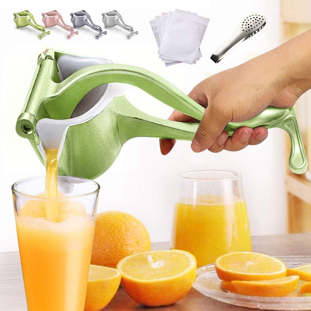EJOYWAY Manual Fruit Juicer Portable Fruit Press Lemon Orange Squeezer Fruit Hand Squeezer Fruit Juicer Citrus Extractor Tool (Green)