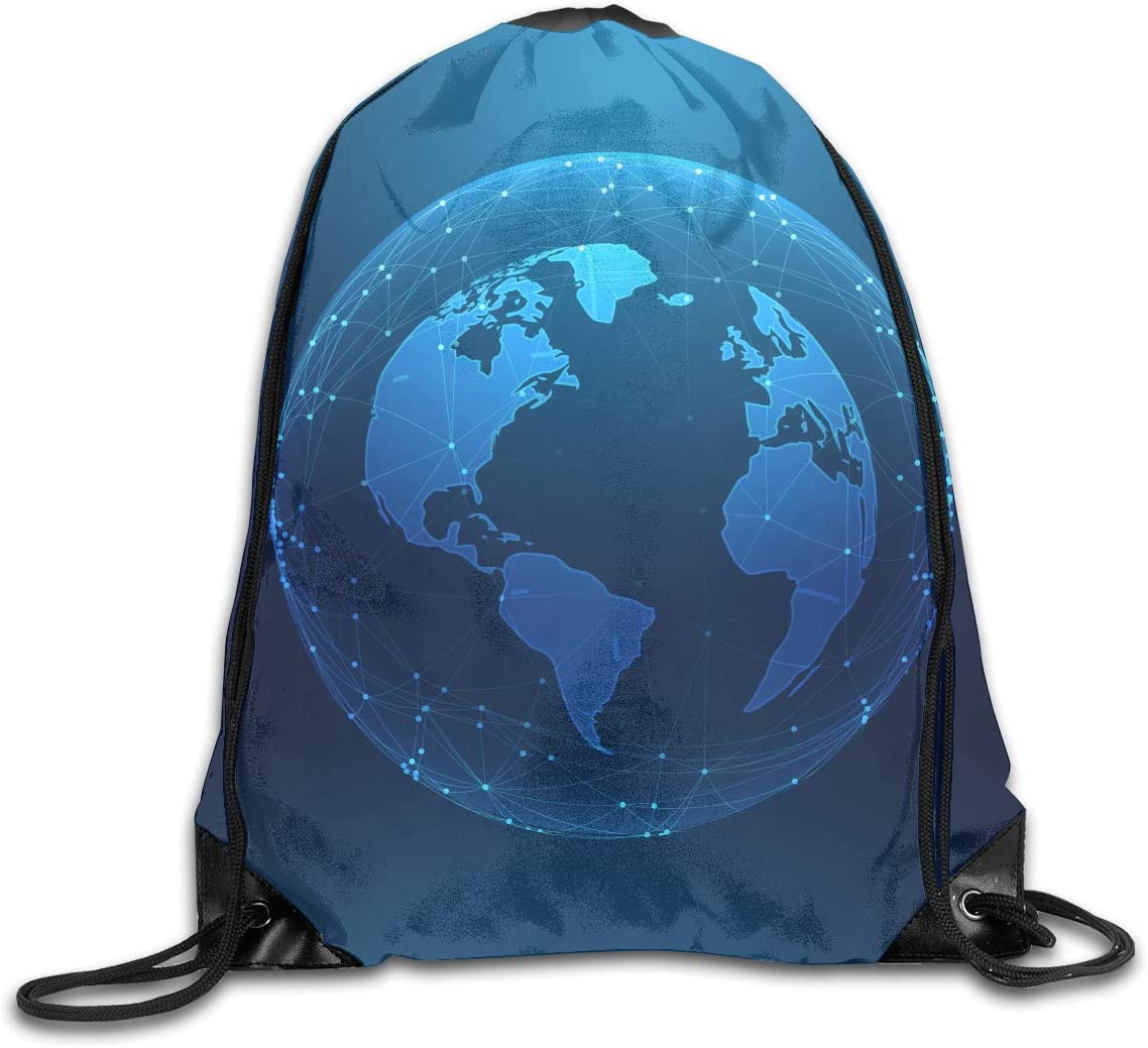 CoolStuff Travel Shoe Bags,Planet Earth Drawstring Backpack Hiking Climbing Gym Bag,Large Big Durable Reusable Polyester Footwear Protection