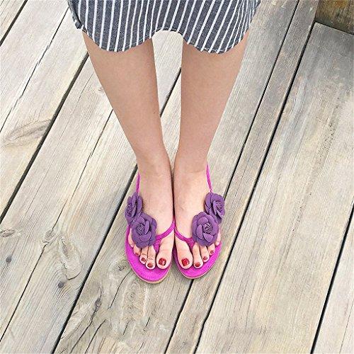 En para Zapatillas Tangas Color Zapatillas De Flores Verano con De Slip con Tacón Mar Playa Leisure On Chanclas Plana Sandalias Púrpura para Chicas Brillante Ante Mujer Mujer Punta Zapatillas nRxx0aOwqU
