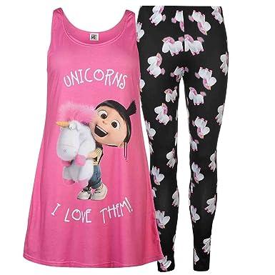 Womens   Unicorns I Love Them   Minions Despicable Me Pyjamas 2 piece PJ s 2ae40c834