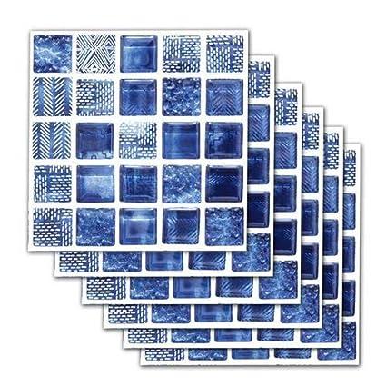Eternitry Carrelage Autocollant Autocollant Étanche Autocollant Étanche DIY  Bleu Imitation Mosaïque Papier Peint Art Décoration pour Salle De Bains ...