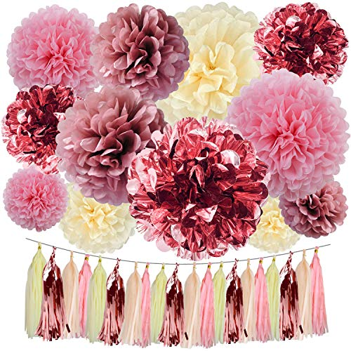 Cuterui Gifted Rose Gold Party Decorations-32 pcs Rose Gold Tissue Paper Pom Poms and Tassels for Birthday Party Wedding Baby Shower Bridal Shower Bachelorette Decorations