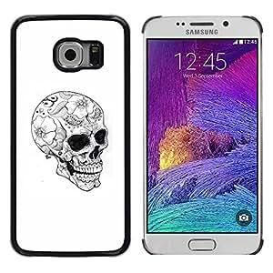 Shell-Star Arte & diseño plástico duro Fundas Cover Cubre Hard Case Cover para Samsung Galaxy S6 EDGE / SM-G925 / SM-G920A / SM-G925T / SM-G925F / SM-G925I ( Skull Floral Tattoo Black Dark White )