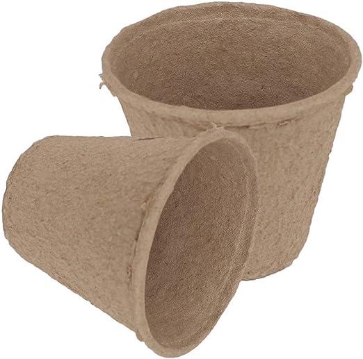 Lvcky - Lote de 100 macetas Redondas de Fibra Biodegradable con ...